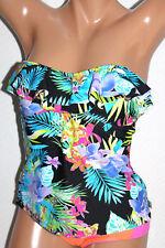 *NEW Island Escape Black Multi Bandini Ruffled Swimsuit Tankini Top Sz 10 #I10