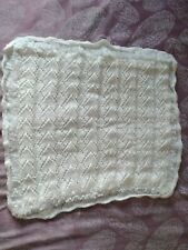 White Hand Knitted Baby Blanket