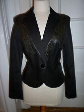 BLUE DEEP Italy Black Cotton Blazer w/ Laser-cut Leather Front Panels, 44