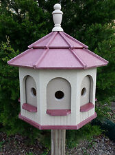 Large Poly Handcrafted Handmade Homemade Birdhouse Garden Clay & Red Roof