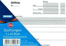 10 Stück Quittungsblock Quittungsbuch Quittung 2x40 Blatt Selbstdurchschreibend