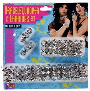 Spiked Bracelet Choker Clip-On Earrings Studded Spikes Silver Spike Punk Costume