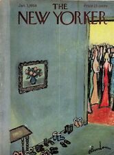 1959 New Yorker COVER ONLY Abe Birnbaum Art Winter Shoes in Room at Social Event