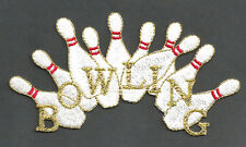 BOWLING PINS W/BOWLING TEXT EMBROIDERED IRON ON PATCH