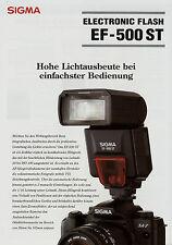 Prospetto 1 fogli SIGMA ef-500 ST Electronic Flash 5/01 2001 brochure broschyr BL