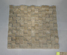 Classic Cream Travertine  Split Face 3D Mosaic sheet 305x305mm