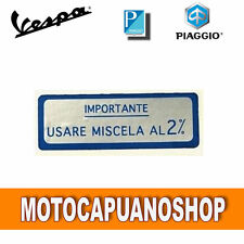 PLACA AZUL IMPORTANTE USAR MEZCLA 2% VESPA 50 SPECIAL R L N