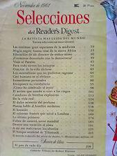 Revista Selecciones del Reader´s Digest vintage - nov 1961 España - publicidad