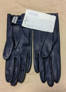 NWT Womens Nordstrom Navy Blue Leather Gloves Size 7 Old Stock