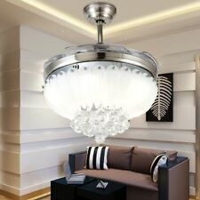 "42"" Chrome Silver Crystal LED Chandelier Remote Invisible Ceiling Fans Home Lamp"