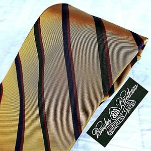 BROOKS BROTHERS Country Club Handmade USA Silk Cotton Tie Gold + Stripes Wide