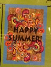 """Small 12 1/2"""" x 18"""" Happy Summer Garden Art Flag New In Package"""