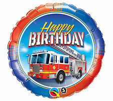 Fire Truck FIRETRUCK Firefighters Happy Birthday Rescue Hero Party Balloon