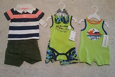 6 Pc   Baby boy one piece size 0/3 months green, 3pc Baby Gear 3/6M, 2pc Carter'