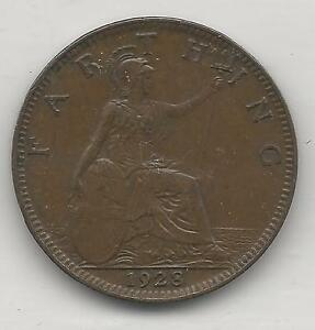 GREAT BRITAIN,  1928,  1 FARTHING,  BRONZE,  KM#825,   ALMOST UNCIRCULATED