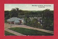 Boat House Bridge Riverton Park Portland Maine Original Vintage Postcard 1907-15