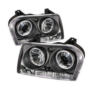 Fit Chrysler 05-08 300 Black Dual Halo LED Projector Headlights Limited/Touring