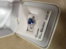 Silver Heart Halo Ring size 7 New Blue Obsidian & Cubic Zirconia Platinum Over