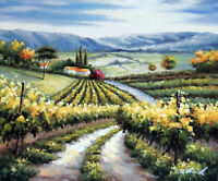 Italian Home Family Vineyard Tuscany Valley Road 20X24 Oil Painting STRETCHED
