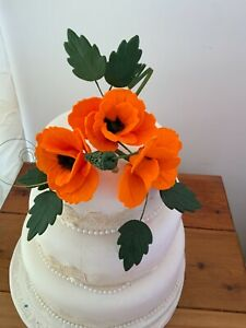 6 INCH CAKE ORANGE POPPY CAKE TOPPER CRAFTED IN SUGAR,  PRICED TO SELL