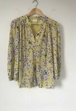 Anna Glove H&M Women Top Size Medium Yellow Floral Tunic Long Line Fly