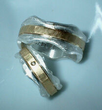 Partnerringe, Eheringe,10 mm und 8 mm breit,  Silber 999 ,Gold 585, Diamant