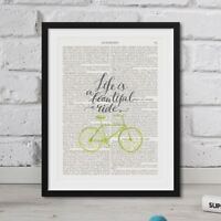 Life Is A Beautiful Ride quote On Vintage Dictionary Book Page Art Print FRAMED