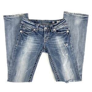 Size 25 Miss Me Women's Embellished Distressed Boot Leg Denim Jeans Blue C151