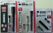 Maglite Pro SP2P01H LED Black Flashlights 332, 100,& 47 Lumems 3 Lot Special