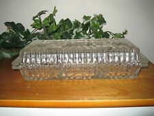 CLEAR CRYSTAL GLASS RELISH DISH WITH LID 3 SECTION OBLONG