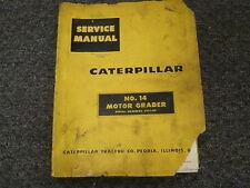 Caterpilar Cat No 14 Motor Grader Shop Service Repair Manual Book S/N 35F1-Up