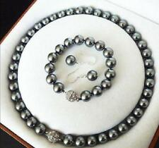 AAA + 10MM dunkel-grau Südsee Shell Perlenkette Armband Ohrring SET