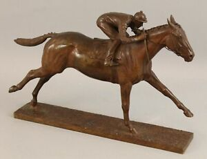Authentic Marilyn Newmark 1977 Man OWar Racehorse & Jockey Bronze Sculpture, NR
