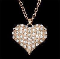 Kette lang m. Herz Anhänger gold Herzkette Strass Damen Halskette Valentinstag