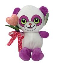 "10"" Valentines Plush Panda Stuffed Animal Holding Pink Heart Tied w/ Ribbon"