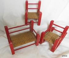 """Vintage Set of 3 Wood and Wicker Sofa Chair and Rocker 5"""" Tall"""