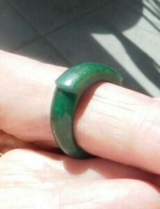 Ring Stone Size 6-7 Band Carved Green Jade Jadeite ?? Cool To Touch