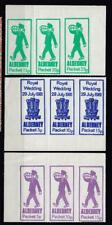 1981 Royal Wedding Alderney Packet Local Issue 3 Block's Of 3 Different Colours