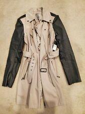 Guess NWT Khaki trench coat black leather sleeve media jacket M