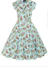 Lady Vintage Penny Shirt Dress Vintage Blue Floral Size 8