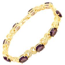 Sale! Fashion Purple Amethyst Yellow Gold Gp Tennis Bracelet Fashion Jewelry