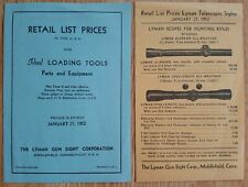 2 Vtg 1952 Lyman Gun Sight Company Scope & Loading Tools Price Lists Pamphlets