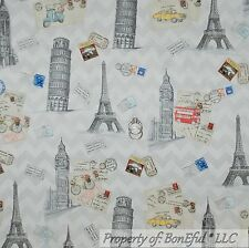 BonEful FABRIC FQ Cotton Quilt Gray B&W French Country Cottage Eiffel Tower Taxi