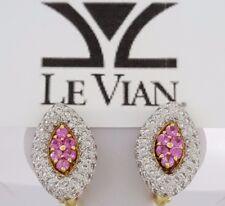 2.97 ct LeVian 18k Yellow Gold Round Brilliant Diamond & Pink Sapphire Earrings