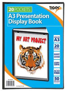 6 A3 Display Books 20 Pocket (40 Views) Presentation Folder Black File