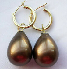 14mm drip coffee south sea shell pearl dangle earring