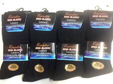 12 Pairs Mens Non Elastic Socks 100% Cotton Loose Soft Top Diabetic 6-11 BLACK