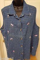 Fashion Bug Womens Jean Floral Button Down Shirt Top Blouse Size 22W 24W