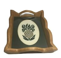 Vintage Wood Serving Tray W/ Handles, Maple color Needle Point Work Handmade