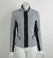 New Joseph Ribkoff Jacket Black White Checked Long Sleeves Zip Front Size 10 NWT